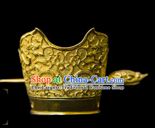 China Handmade Han Dynasty Prince Hair Accessories Ancient King Golden Hairdo Crown and Hairpin
