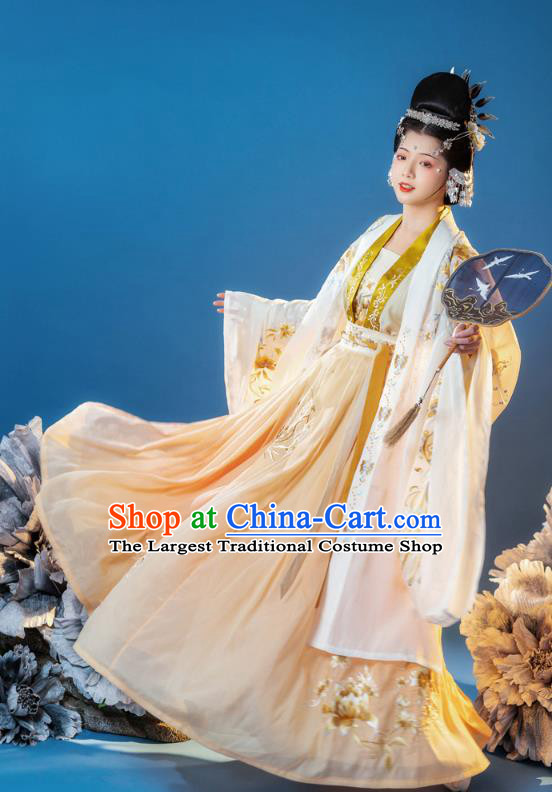China Ancient Empress Embroidered Clothing Song Dynasty Court Queen Costumes Traditional Yellow Hanfu Dress