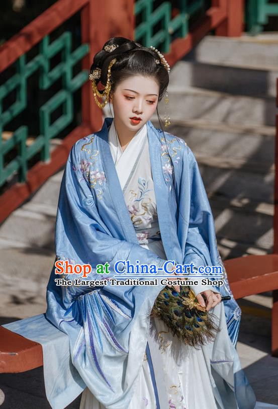 Ancient China Jin Dynasty Imperial Concubine Clothing Traditional Court Woman Embroidered Hanfu Dress