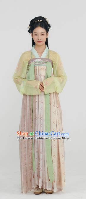 China Traditional Hanfu Dress Tang Dynasty Palace Lady Historical Clothing Ancient Young Beauty Costumes