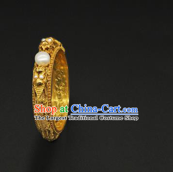 Handmade Traditional Court Golden Carving Bracelet Jewelry Chinese Ancient Qing Dynasty Queen Pearls Bangle Accessories