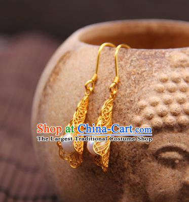 Handmade Traditional Court Golden Earrings Jewelry Chinese Ancient Qing Dynasty Queen Pearl Ear Accessories