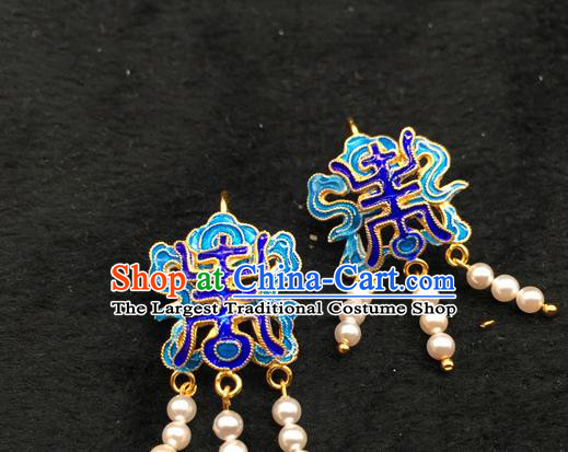 Handmade Traditional Court Pearls Tassel Earrings Jewelry Chinese Ancient Qing Dynasty Queen Enamel Ear Accessories