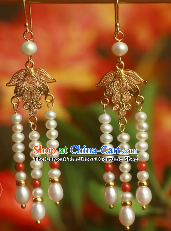 Handmade Traditional Chinese Court Ear Jewelry Ancient Ming Dynasty Pearls Tassel Earrings Accessories