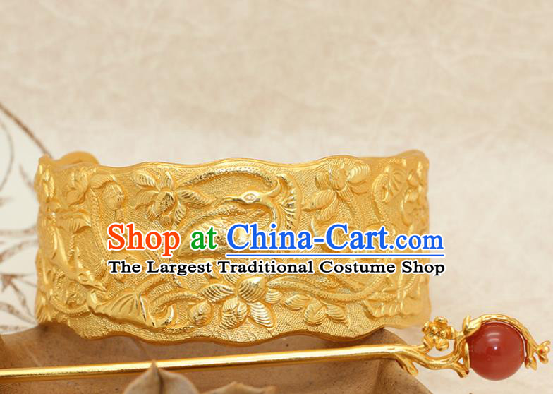 China Traditional Ming Dynasty Prince Golden Hairdo Crown Ancient Noble Childe Hairpin Hair Accessories