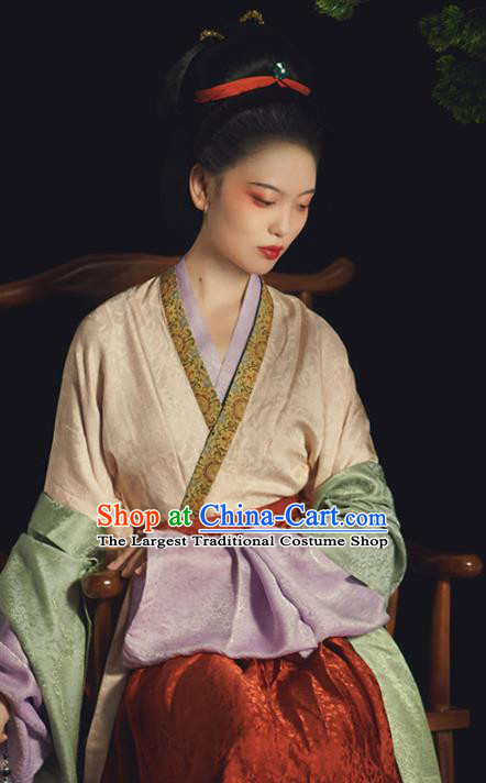 China Ancient Imperial Consort Hanfu Dress Traditional Song Dynasty Noble Countess Historical Clothing Complete Set