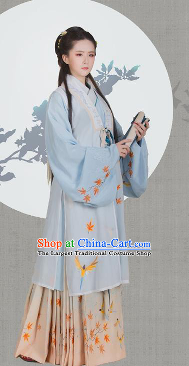 Traditional China Ancient Noble Mistress Hanfu Dress Ming Dynasty Patrician Beauty Historical Clothing