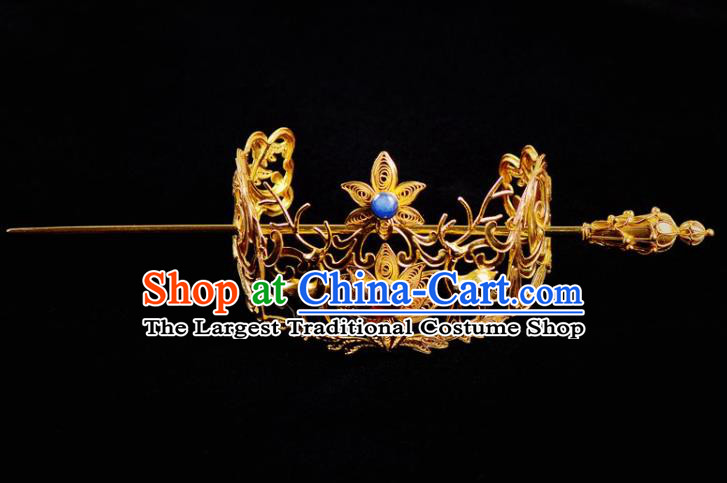 Chinese Traditional Hanfu Hair Accessories Ancient Ming Dynasty Prince Golden Hairdo Crown Hairpin