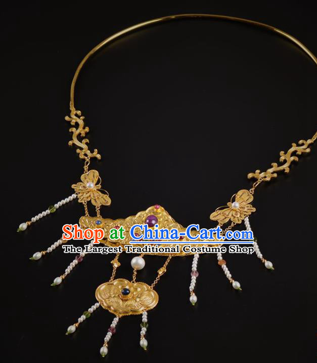 Handmade Chinese Ancient Court Queen Gems Necklace Jewelry Traditional Ming Dynasty Pearls Golden Necklet Accessories