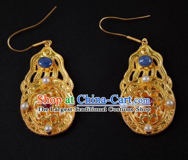Handmade Chinese Traditional Tang Dynasty Palace Golden Earrings Accessories Ancient Court Empress Pearls Ear Jewelry