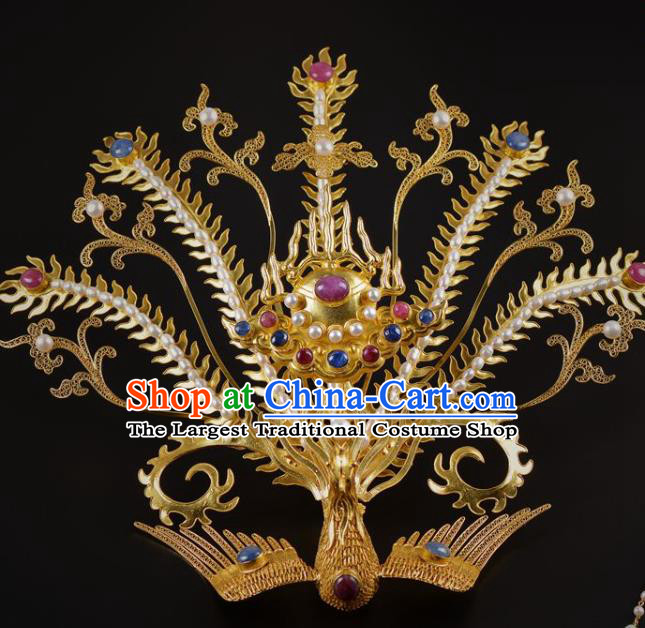 China Traditional Ming Dynasty Golden Hairpin Handmade Hair Jewelry Ancient Empress Pearls Phoenix Hair Crown