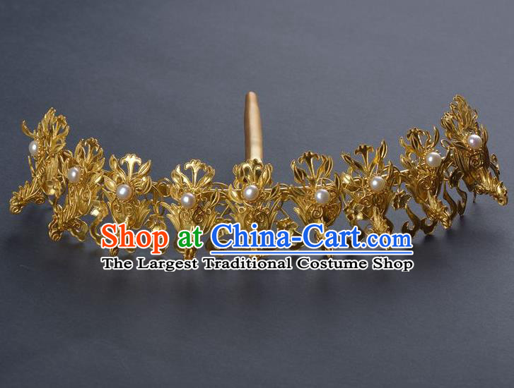 Traditional China Qing Dynasty Palace Golden Phoenix Hair Crown Handmade Hair Ornament Ancient Empress Pearls Hairpin