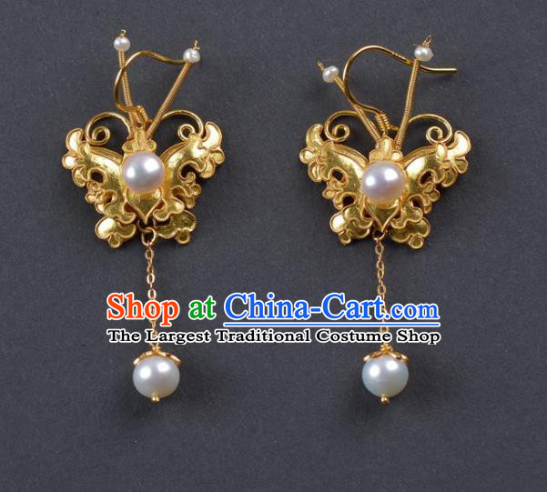 Handmade Chinese Ancient Empress Pearls Ear Jewelry Traditional Qing Dynasty Court Golden Butterfly Earrings Accessories