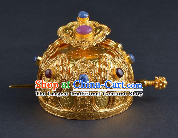 Chinese Ancient Tang Dynasty Taoist Golden Lotus Hairdo Crown Hairpin Traditional Hanfu Hair Accessories