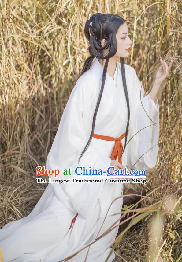 China Traditional White Hanfu Dress Jin Dynasty Royal Princess Historical Clothing Ancient Palace Lady Costumes