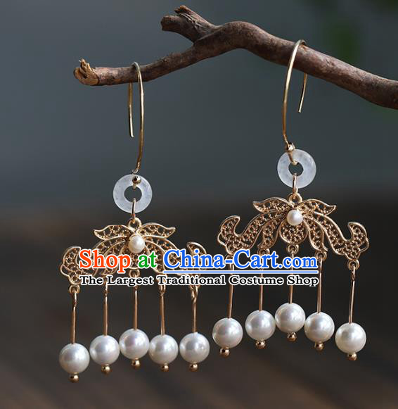 Handmade Chinese Ancient Bride Tassel Golden Earrings Jewelry Traditional Wedding White Jade Ear Accessories