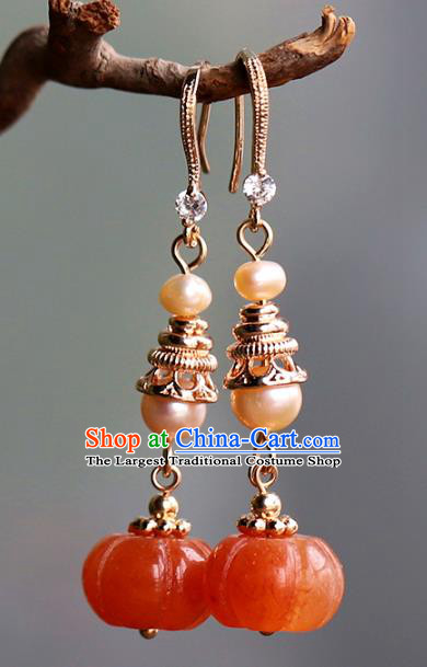Handmade Chinese Ancient Qing Dynasty Pearls Earrings Jewelry Traditional Wedding Agate Pumpkin Ear Accessories