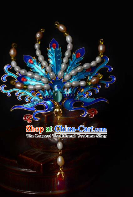 Chinese Traditional Blueing Phoenix Hair Crown Ancient Empress Pearls Hairpin Hanfu Hair Accessories