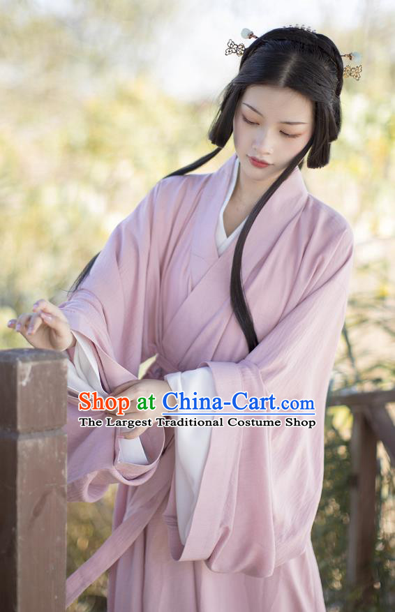 China Ancient Court Beauty Pink Hanfu Dress Costumes Traditional Jin Dynasty Imperial Consort Historical Clothing