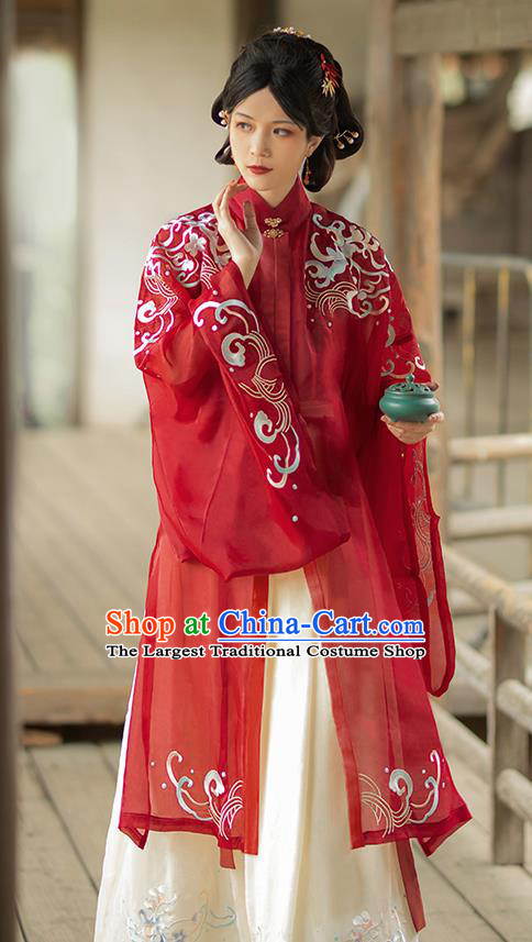 China Ming Dynasty Rich Mistress Historical Clothing Traditional Hanfu Dress Ancient Noble Woman Costumes