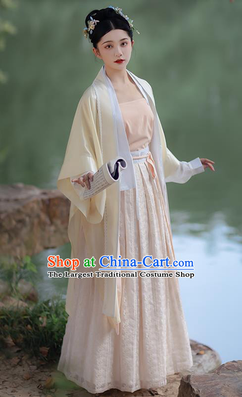 China Ancient Hanfu Dress Young Beauty Costumes Traditional Song Dynasty Historical Clothing