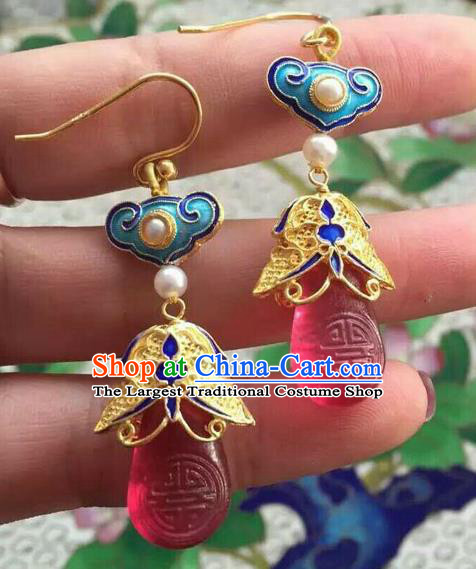Handmade Chinese Ancient Palace Empress Ear Accessories Traditional Qing Dynasty Cloisonne Pearls Earrings Jewelry