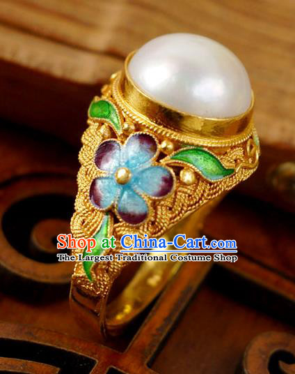China Ancient Court Woman Golden Circlet Cloisonne Jewelry Traditional Qing Dynasty Pearl Ring Accessories