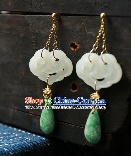 China White Jade Cloud National Jewelry Traditional Ancient Qing Dynasty Earrings Handmade Ear Accessories
