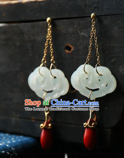China Traditional Ancient Qing Dynasty Earrings Handmade Ear Accessories White Jade Cloud National Jewelry