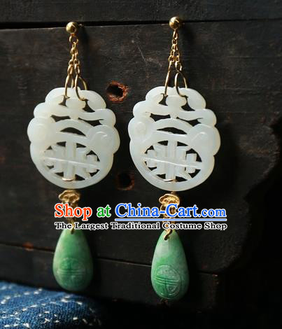 China Ancient Qing Dynasty White Jade Earrings National Jewelry Traditional Handmade Ear Accessories