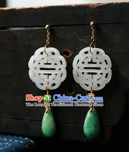 China National Wedding Jewelry Ancient Qing Dynasty Earrings Traditional Handmade White Jade Ear Accessories
