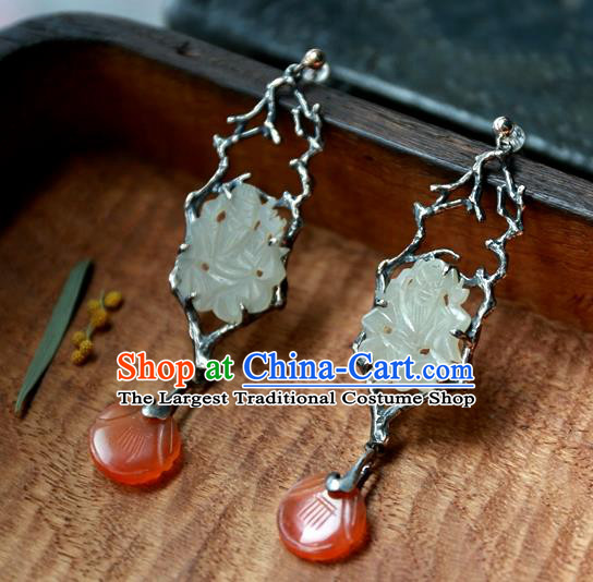 China Traditional Handmade Agate Ear Accessories National Wedding Jewelry Ancient Qing Dynasty White Jade Earrings