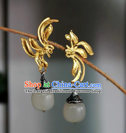 China Handmade Qing Dynasty White Jade Ear Accessories Ancient Court Golden Earrings Traditional National Jewelry