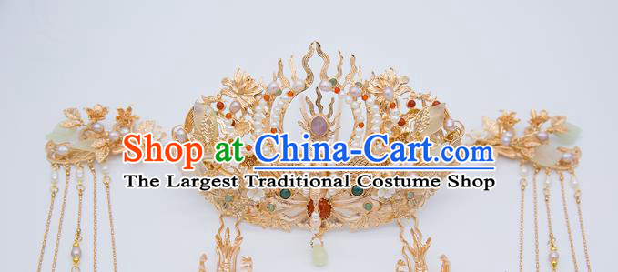 China Tang Dynasty Phoenix Coronet Traditional Hanfu Hair Accessories Ancient Empress Pearls Hair Crown and Hairpins