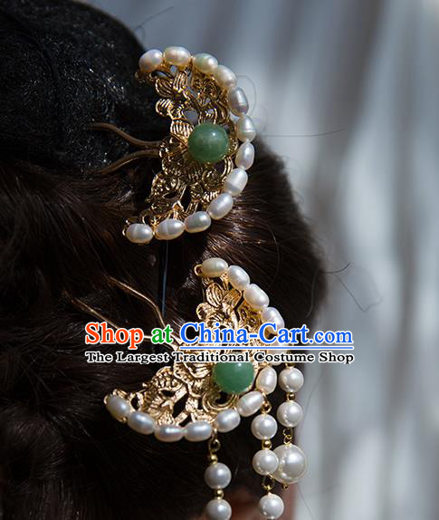 China Ming Dynasty Pearls Hair Clip Traditional Hanfu Hair Accessories Ancient Court Lady Brass Hairpin