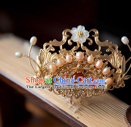 China Ming Dynasty Pearls Hair Crown Traditional Hanfu Hair Accessories Ancient Court Lady Agate Golden Hairpin