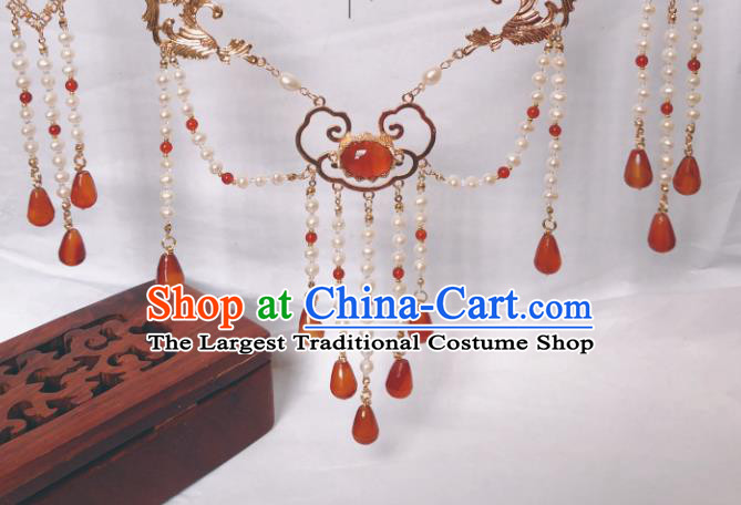 China Traditional Ancient Princess Pearls Tassel Necklace Handmade Ming Dynasty Agate Jewelry Accessories
