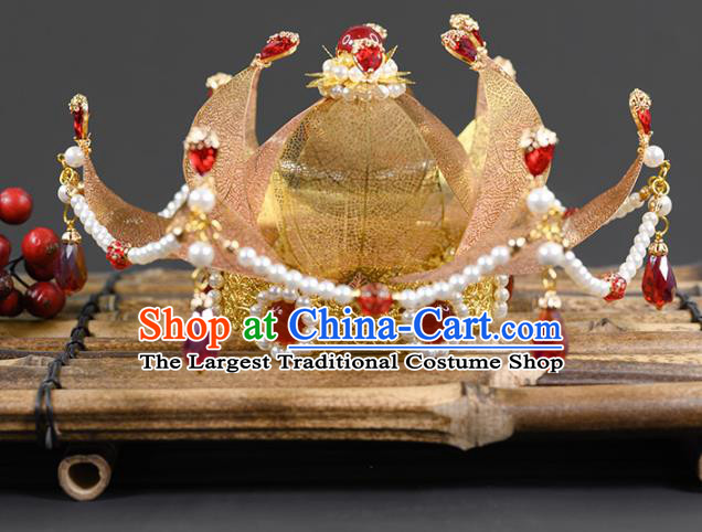 China Ancient Palace Lady Pearls Hairpin Traditional Hanfu Tang Dynasty Hair Accessories Golden Lotus Hair Crown