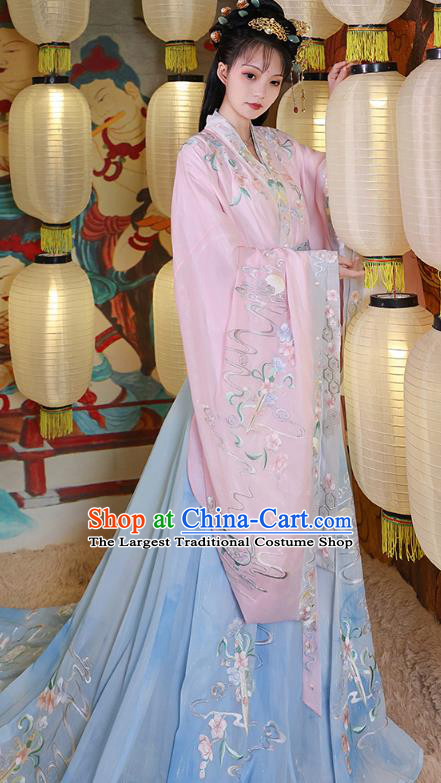 China Ancient Court Beauty Embroidered Historical Clothing Traditional Hanfu Dress Jin Dynasty Imperial Concubine Costume