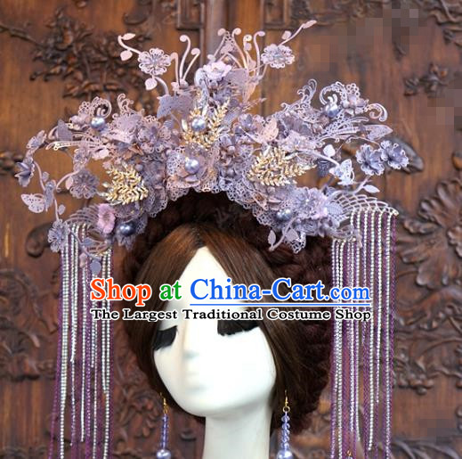 China Ancient Queen Purple Phoenix Coronet Traditional Bride Wedding Hair Accessories Tassel Hair Crown Complete Set