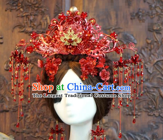 China Traditional Bride Wedding Hair Accessories Tassel Hair Crown Ancient Queen Red Phoenix Coronet Complete Set