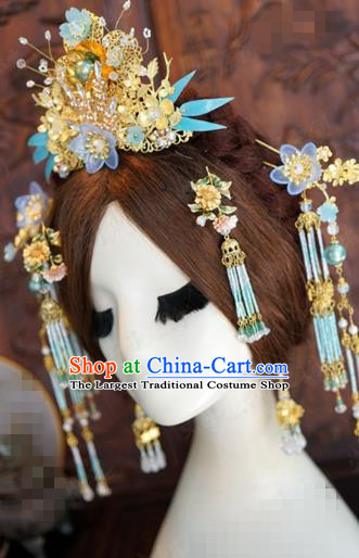 China Traditional Bride Hair Accessories Ancient Wedding Hair Crown and Tassel Hairpins Complete Set