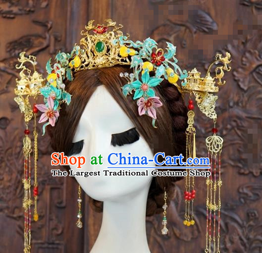 China Wedding Golden Hair Crown Headwear Ancient Bride Phoenix Coronet and Tassel Hairpins Traditional Hair Accessories