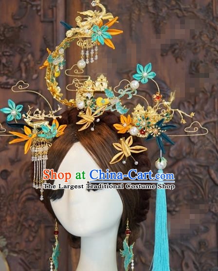 China Traditional Hair Accessories Wedding Hair Crown Ancient Queen Phoenix Coronet Hairpins Complete Set