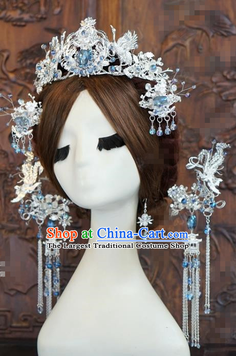 China Ancient Queen Phoenix Coronet Traditional Hair Accessories Wedding Argent Hair Crown Hairpins Complete Set