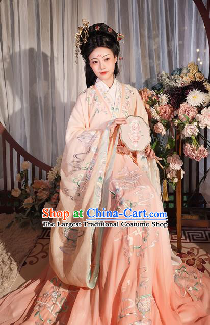 China Ancient Imperial Consort Hanfu Clothing Jin Dynasty Court Beauty Embroidered Pink Dress Apparels