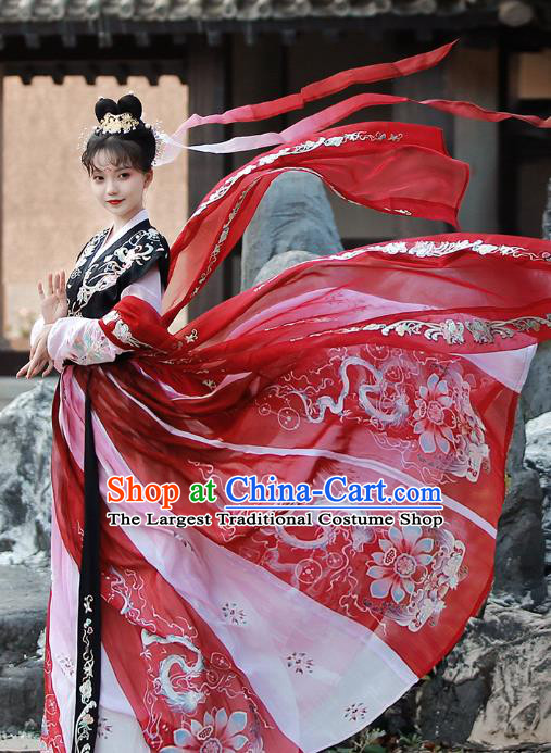 China Tang Dynasty Court Lady Embroidered Dress Traditional Hanfu Clothing Ancient Palace Woman Costumes Full Set