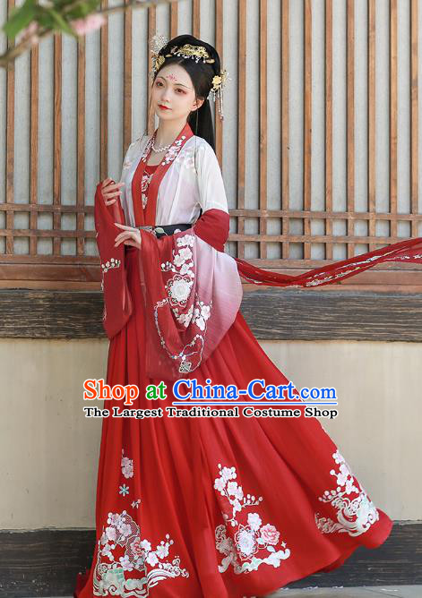 China Ancient Young Beauty Costumes Traditional Tang Dynasty Court Woman Hanfu Dress Historical Clothing
