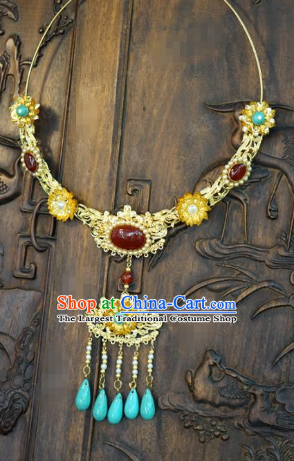Chinese Handmade Agate Necklace Traditional Jewelry Accessories Ancient Wedding Bride Tassel Necklet