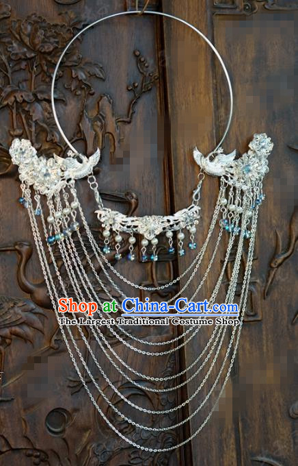 Chinese Handmade Argent Tassel Necklace Traditional Jewelry Accessories Ancient Wedding Bride Phoenix Necklet